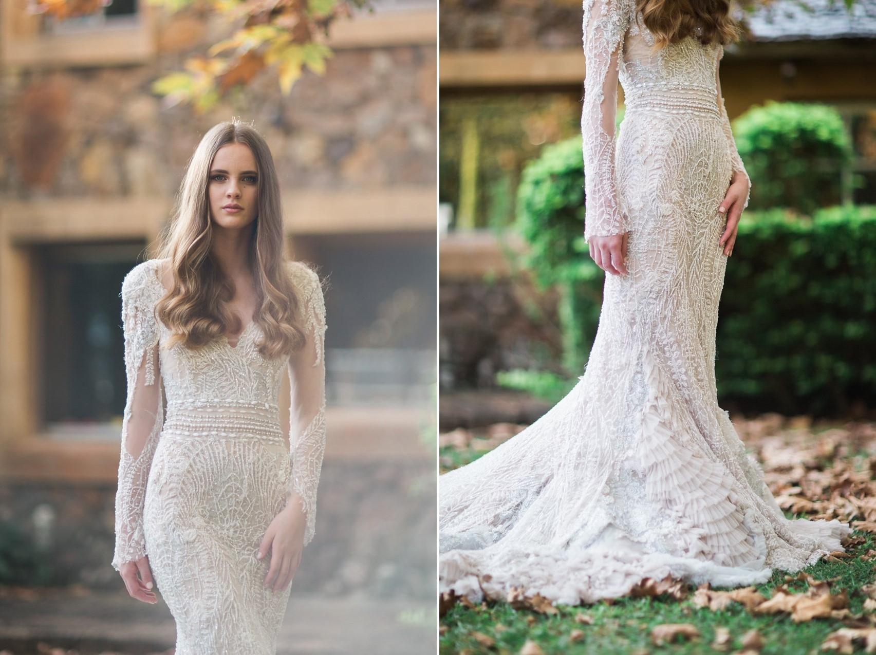 Beautifully Embellished Long Sleeve Wedding Dress // Photography ~ White Images