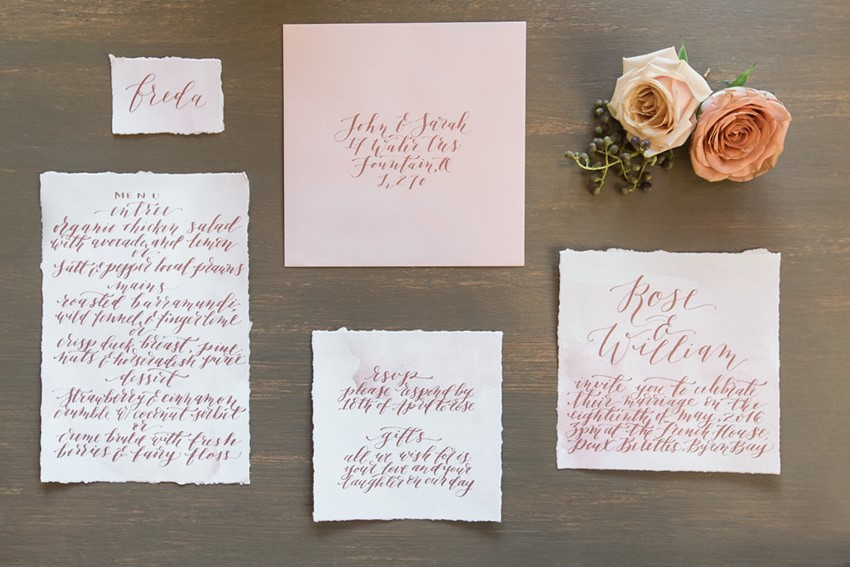 Romantic Calligraphy Wedding Stationery // Photography ~ White Images