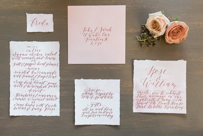 Romantic Calligraphy Wedding Stationery // Photography ~ White Images
