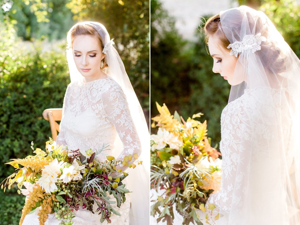 Vintage Fall Bride in a Juliet Cap Veil // Photography ~ Anna Scott Photography