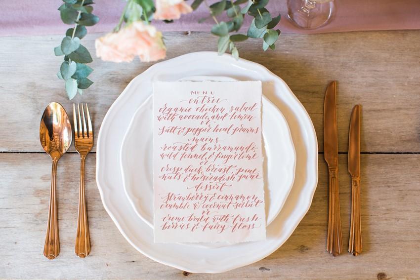 Calligraphy Wedding Menu & Place Setting // Photography ~ White Images