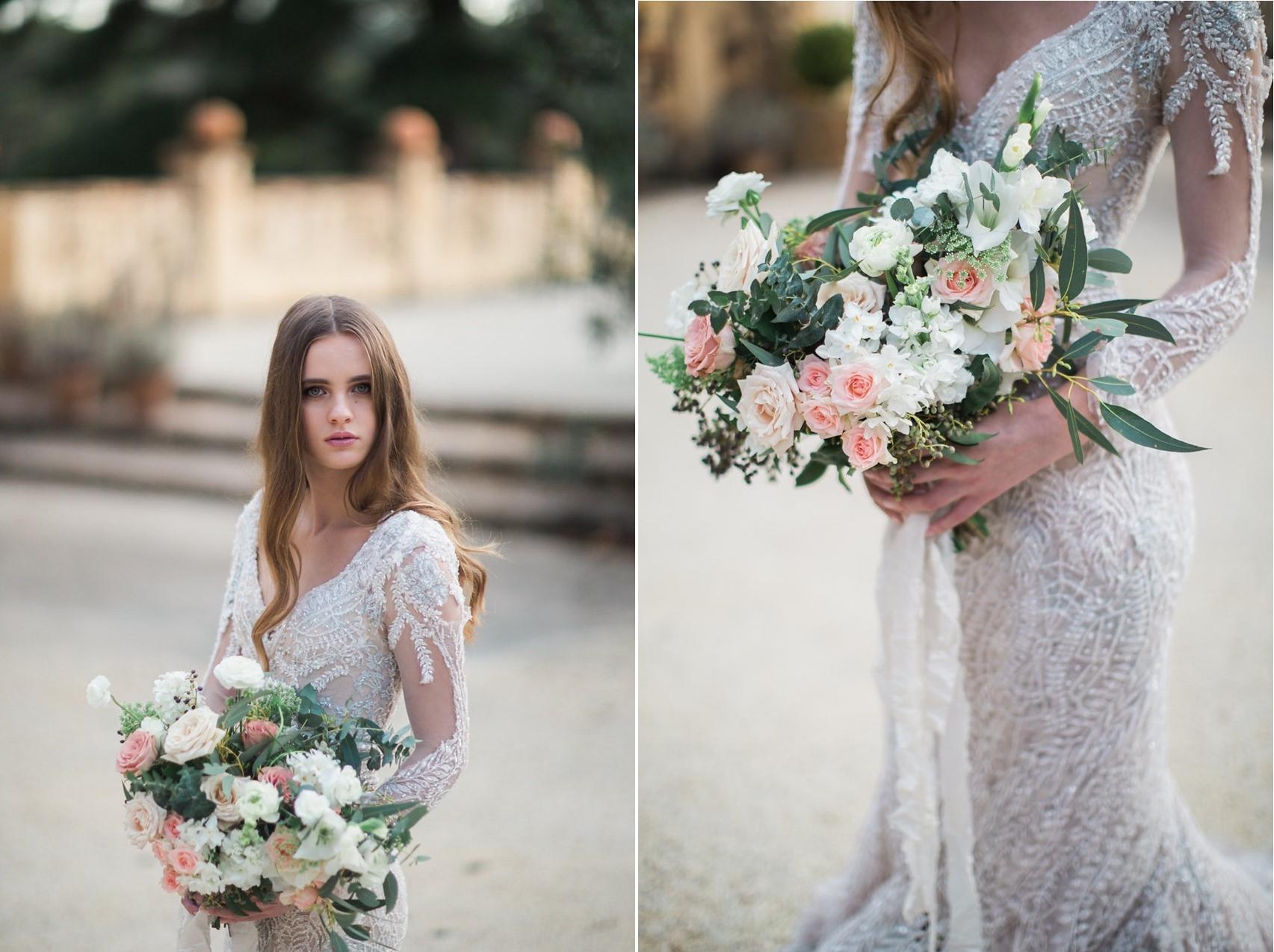 Romantic Asymmetrical Bridal Bouquet // Photography ~ White Images