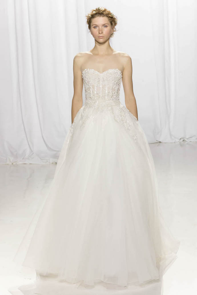 Delicate Strapless Wedding Dress from Reem Acra
