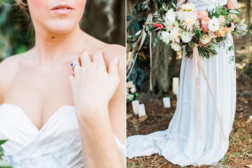 Sapphire Engagement Ring & Bridal Bouquet // Photography ~ Eden Willow Photography
