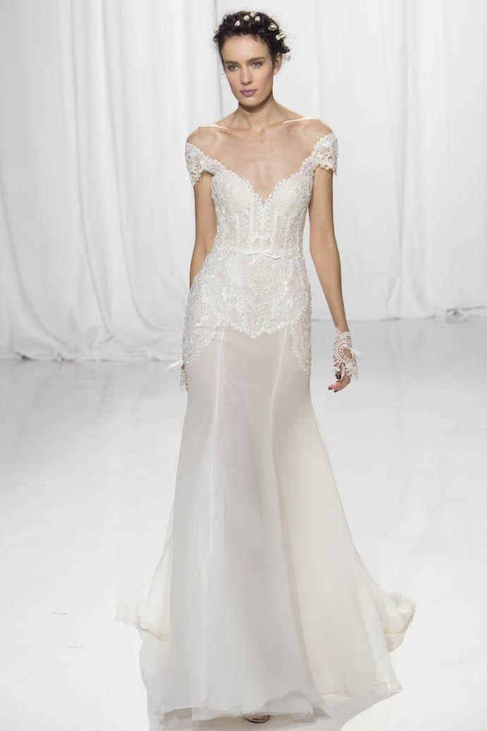 Romantic Off Shoulder Wedding Dress from Reem Acra