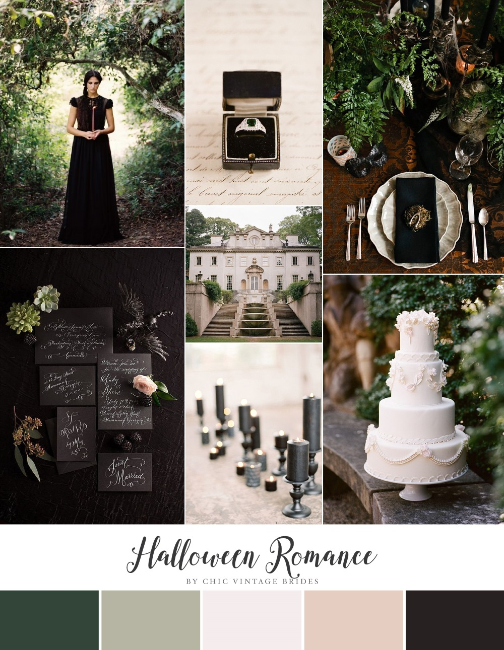 Halloween Romance - Wedding Inspiration in Black, Green & Neutrals