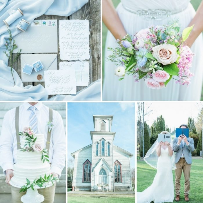 Sweet Pastel Blue & Pink Wedding Inspiration at Cranberry Creek Gardens