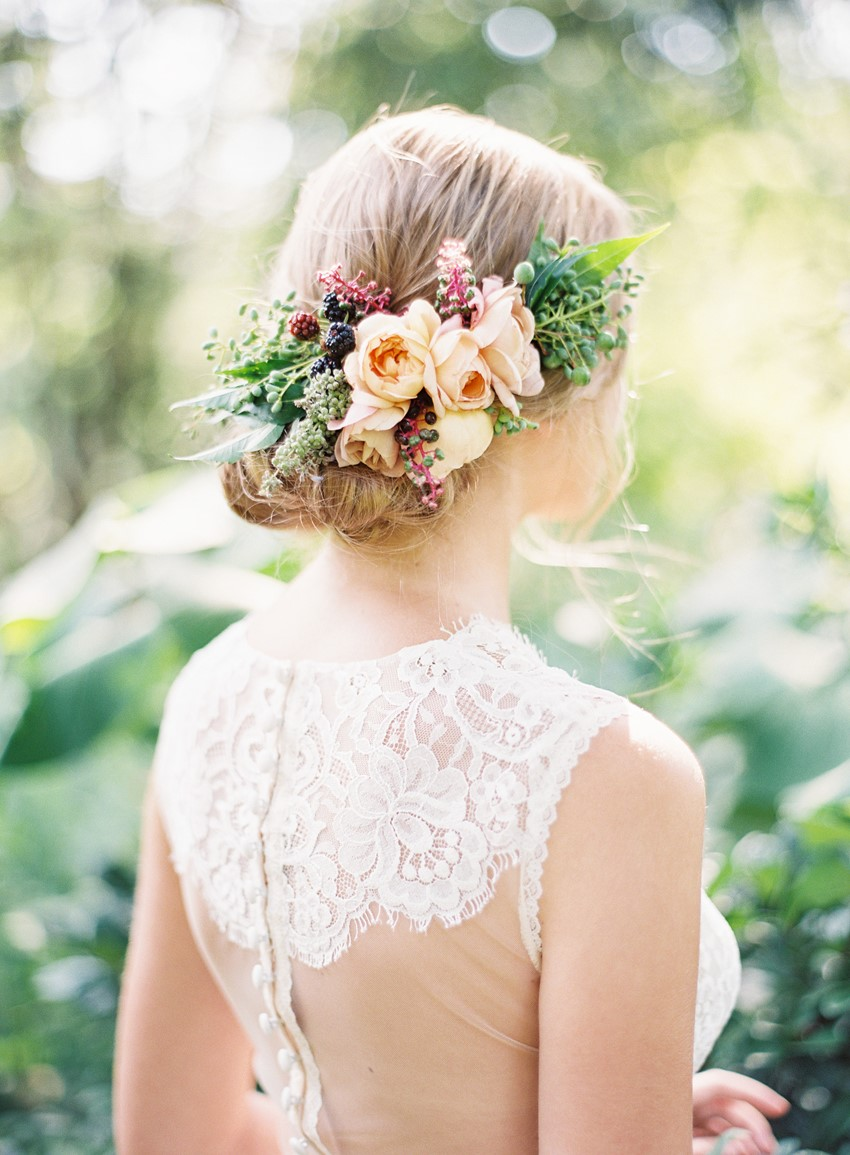 Elegant Floral Bridal Updo // Photography ~ Kayla Barker Fine Art Photography