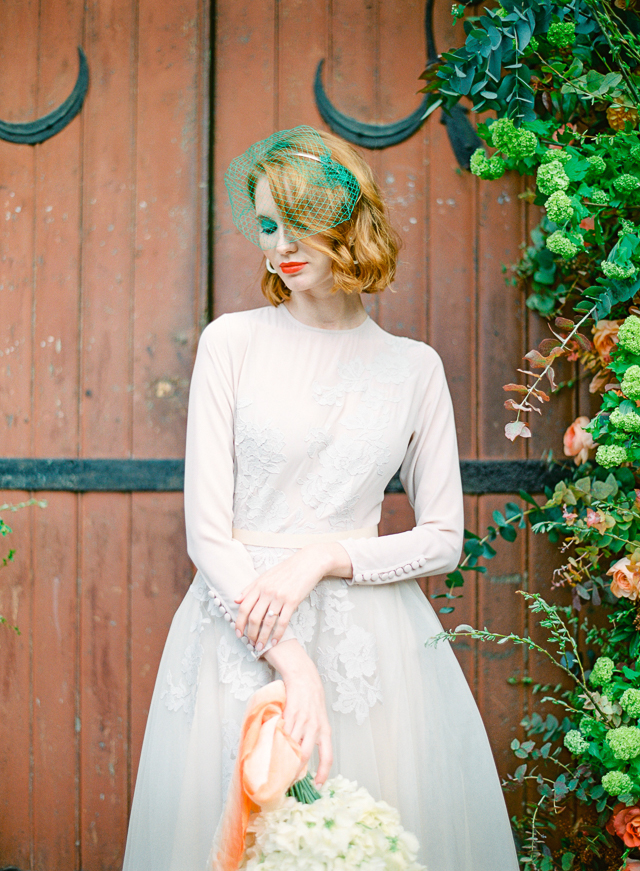 Vintage Inspired Bride with a Green Birdcage Veil