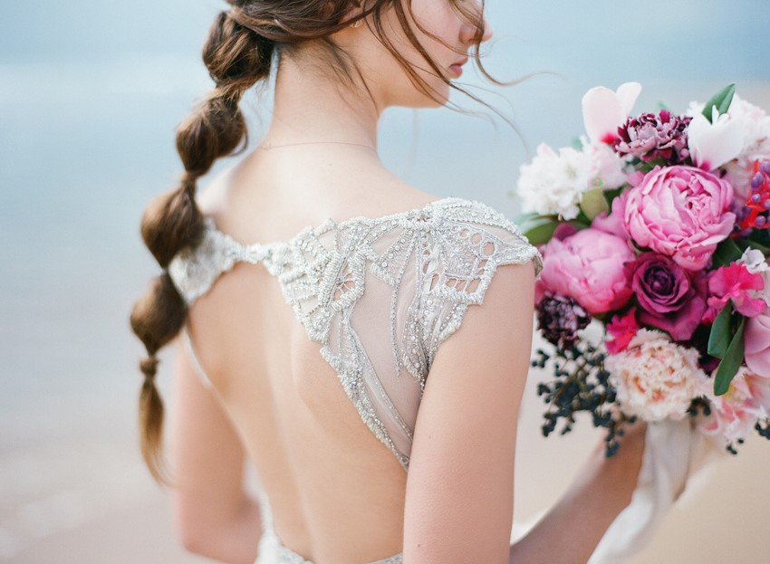 Embellished wedding dress with open back// Photography ~ Love Note Photography