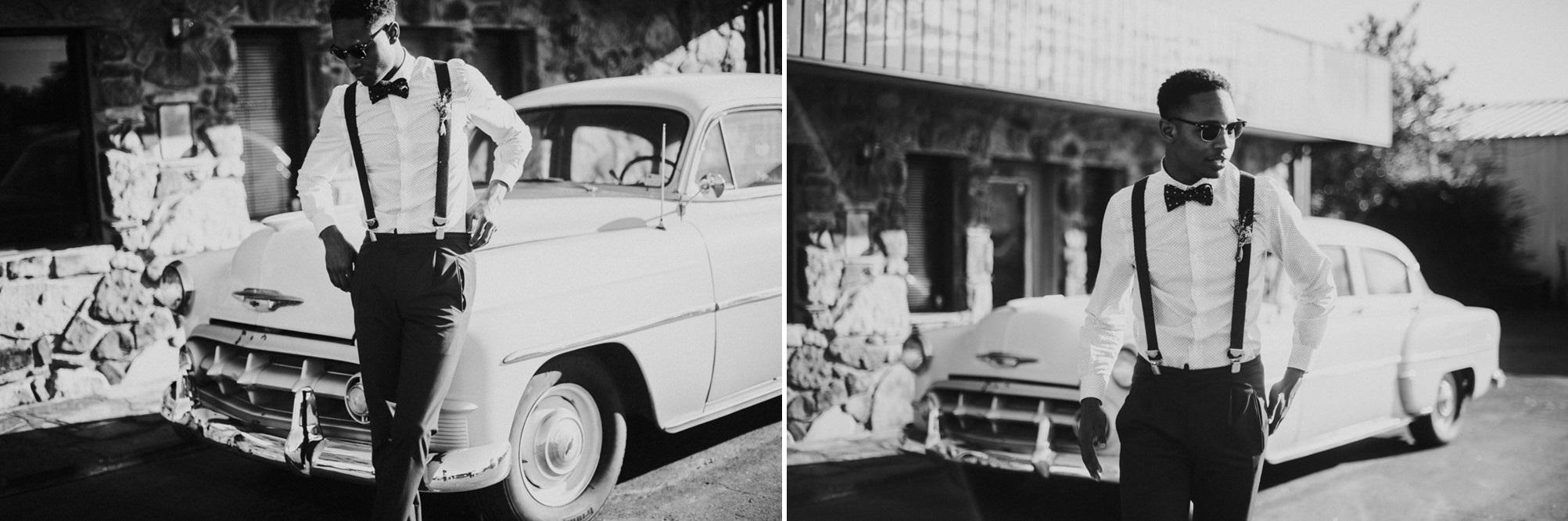 Mid-Century Groom and Vintage Wedding Car // Photography ~ Myranda Randle Photography