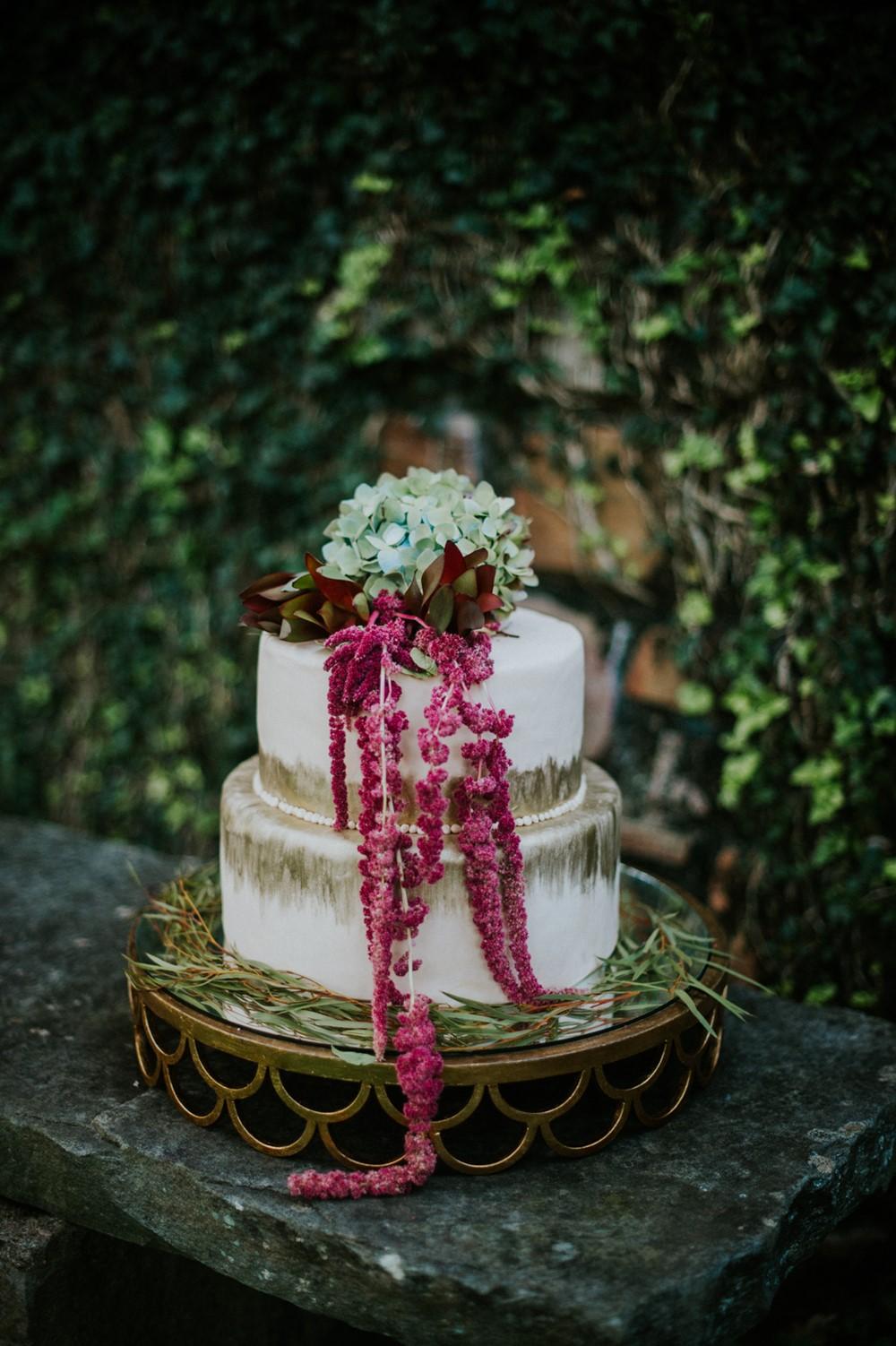 2 Tier White Metallic Wedding Cake // Photography ~ Myranda Randle Photography