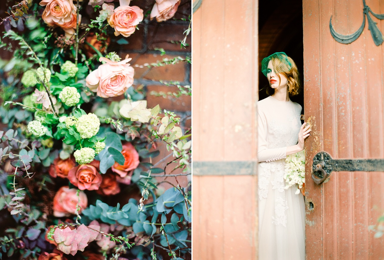 Vintage Inspired Bride with Red Hair & Green Birdcage Veil