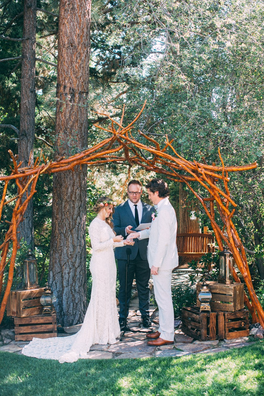 Outdoor Boho Vintage Wedding Ceremony // Photography ~ The Darlene