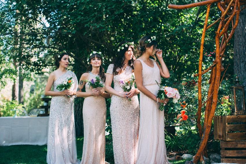 Boho Mismatched Pink Bridesmaid Dresses // Photography ~ The Darlene