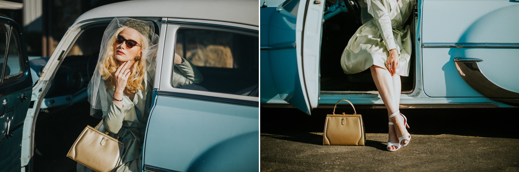 1950s Inspired bride and a vintage wedding car