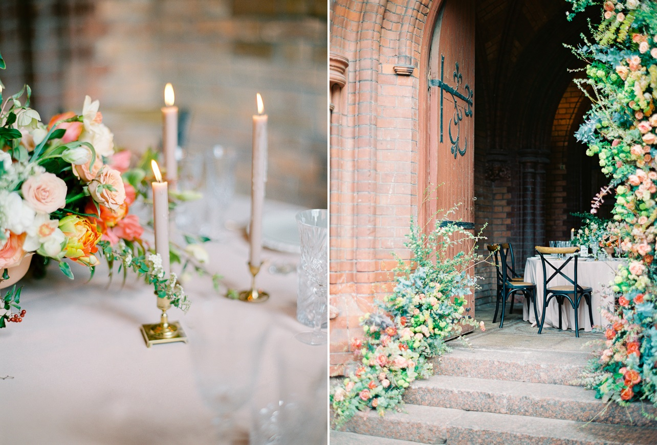 Romantic Peach & Green Vintage Wedding Tablescape