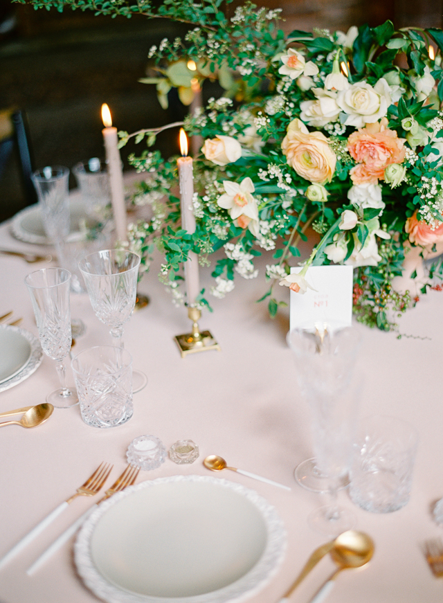 Romantic Peach & Green Floral Wedding Tablescape