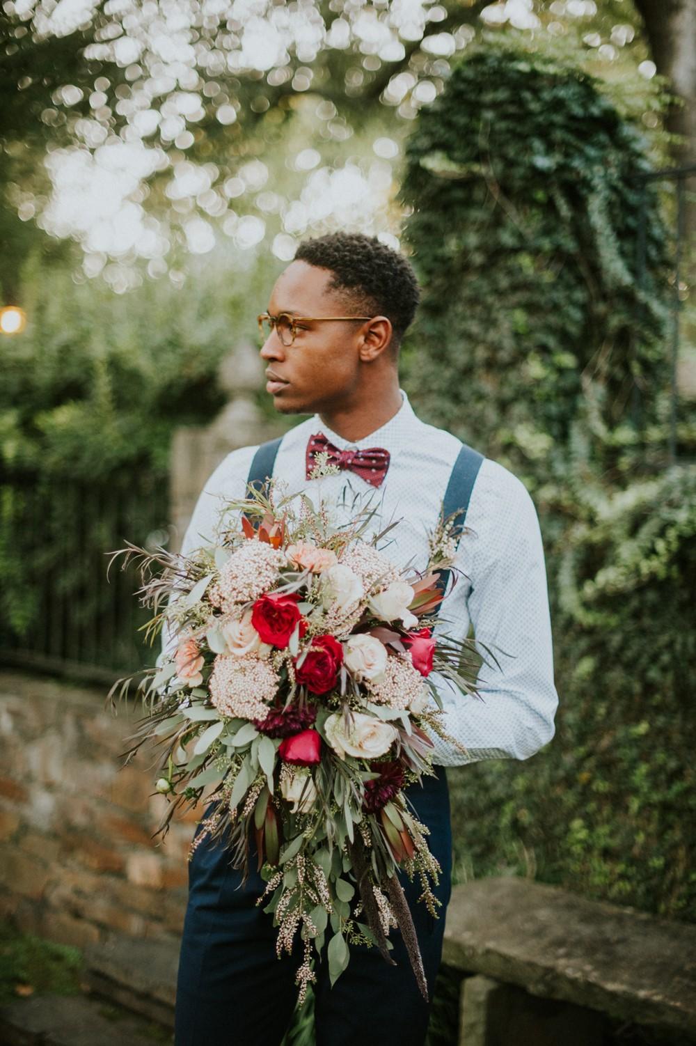 Retro Groom with a Bridal Bouquet // Photography ~ Myranda Randle Photography