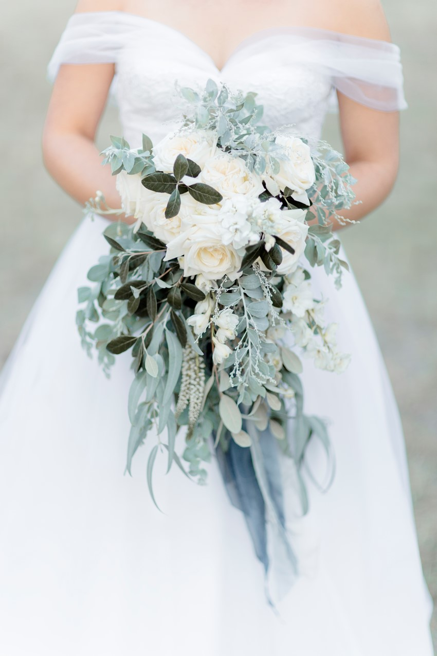 White & Greyed Jade Cascading Bridal Bouquet