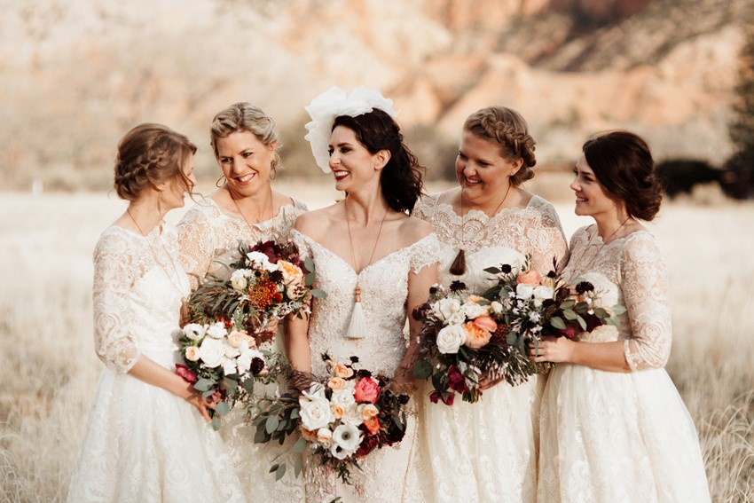 Desert Wedding Bridal Party // Photography ~ Elizabeth Wells Photography
