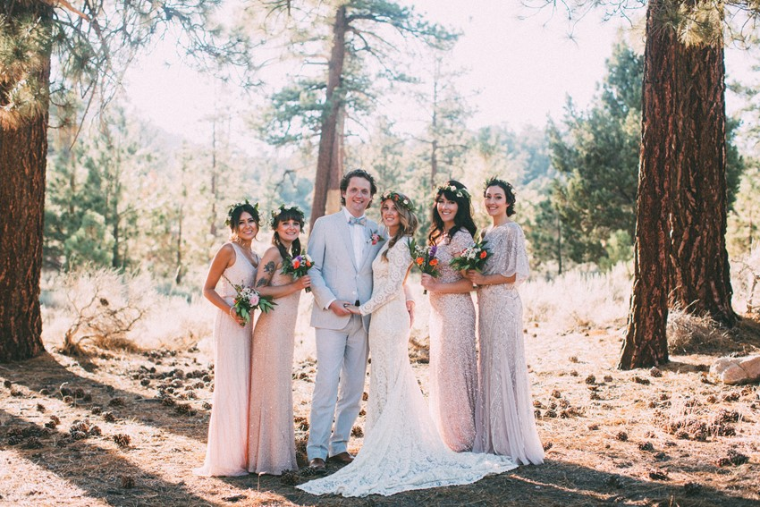 Boho Bride & Groom and Mismatched Bridesmaids // Photography ~ The Darlene