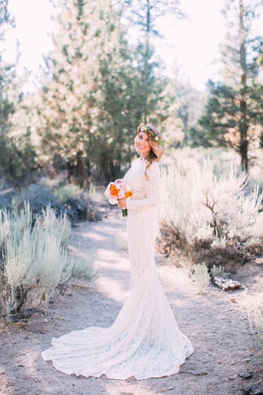 Boho Bride in a long sleeve lace wedding dress // Photography ~ The Darlene