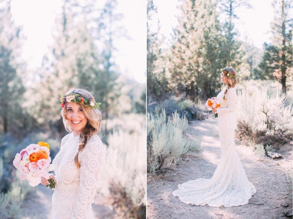 Boho Bride in a long sleeve lace wedding dress// Photography ~ The Darlene
