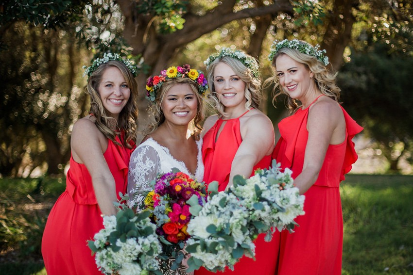 Boho- Vintage Bride & Coral Bridesmaids // Photography ~ Bless Photography