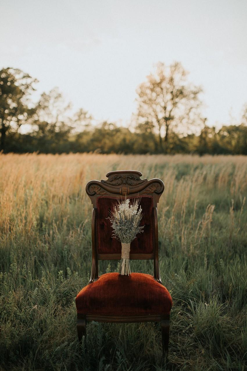 Rustic Dreid Flower bridal Bouquet on a Vintage Chair