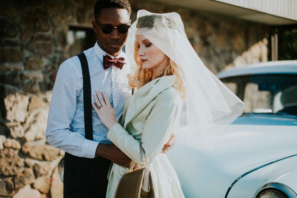 Mid Century Inspired Bride + Groom // Photography ~ Myranda Randle Photography
