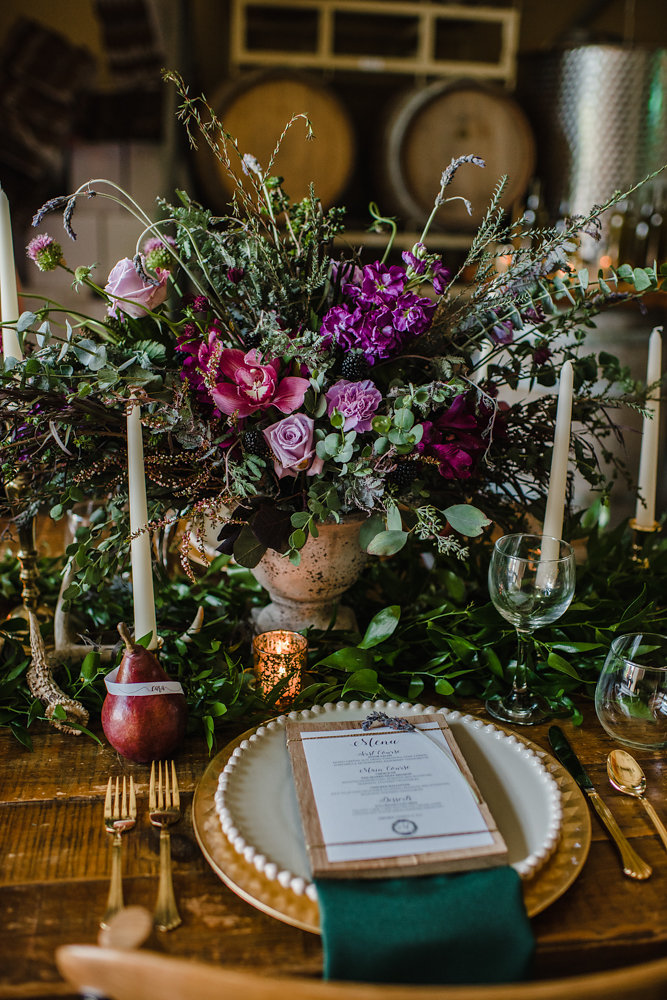 Rustic Winery Wedding Place Setting // Photogrpahy ~ Ashley D Photography