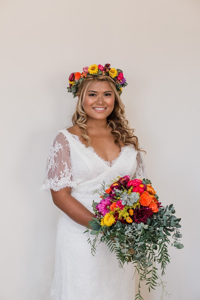 Boho-Vintage Bride in a Fresh Flower Crown // Photography ~ Bless Photography