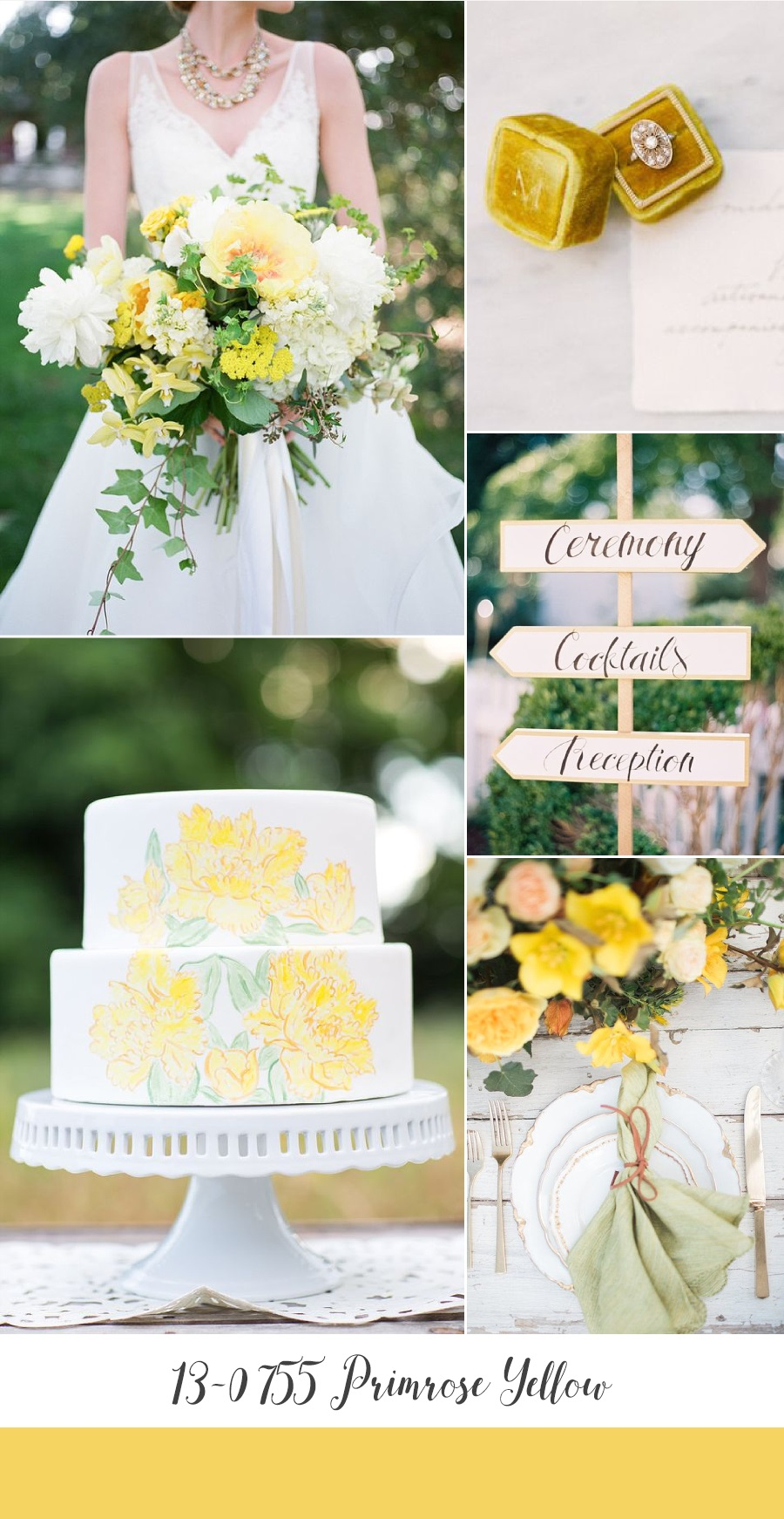 Primrose Yellow Spring Wedding Inspiration Board