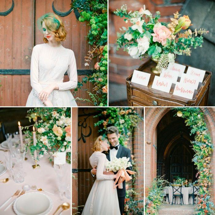 Romantic Peach & Green Vintage Wedding Inspiration