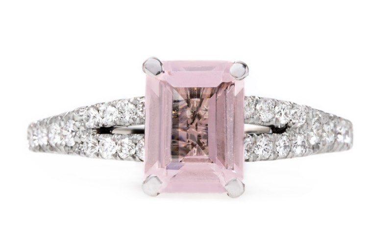 Modern Pink Emerald Engagement Ring