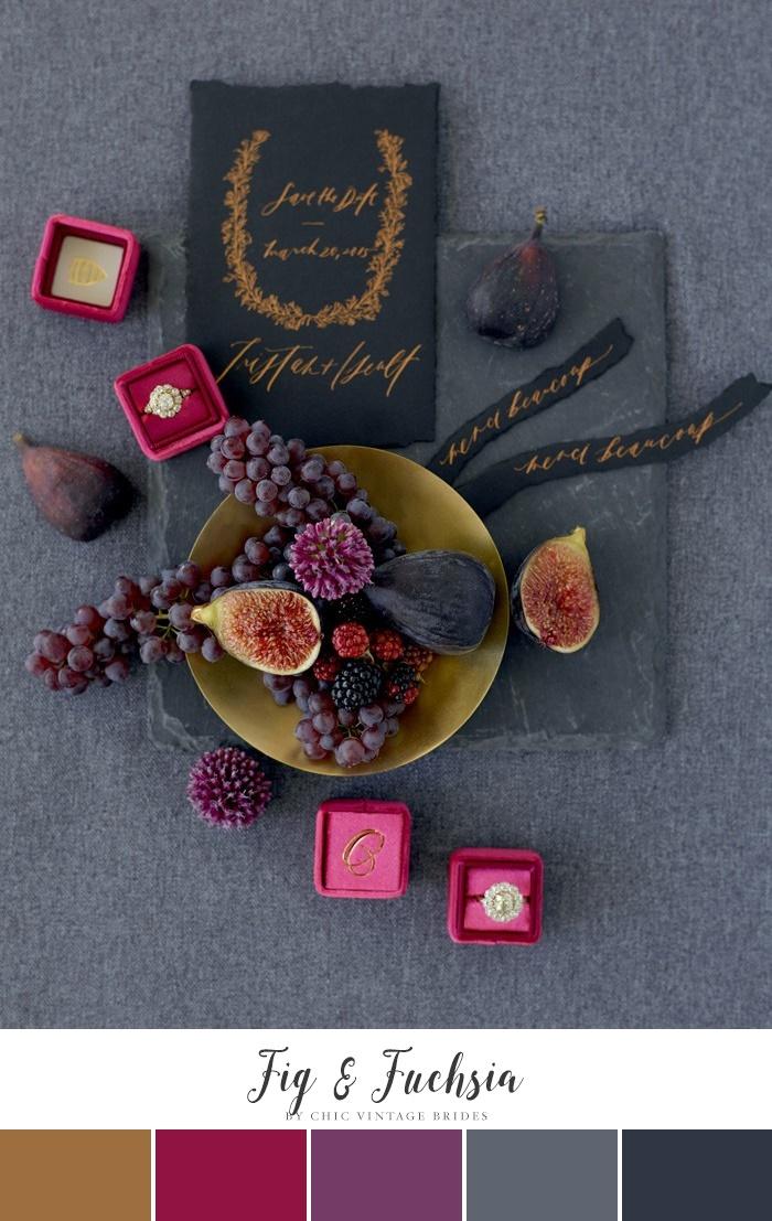 Bold Winter Wedding Color Palette - Fuchsia & Fig