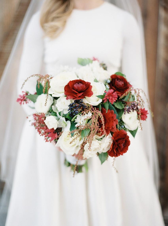 Holiday Wedding Bridal Bouquet // Photography ~ Rebecca Hollis Photography