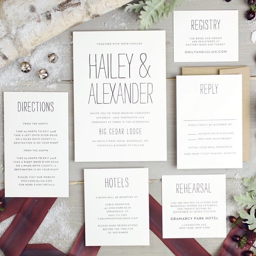 Elegant Wedding Invitation Suite from Basic Invite
