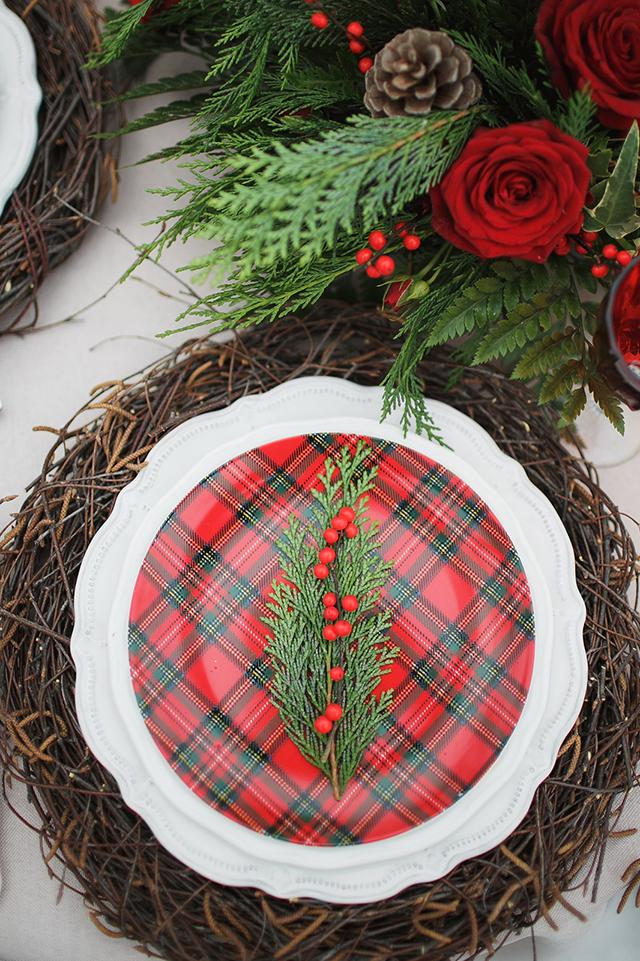 Plaid Christmas Wedding Place Setting