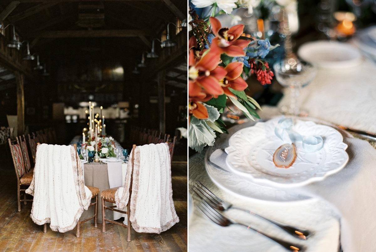 Romantic Rustic Winter Barn Wedding Tablescape // Photography ~ Rebecca Hollis Photography