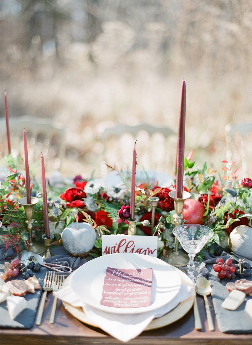 Winter Wedding Place Setting // Photography ~ Heather Roth Fine Art Photography