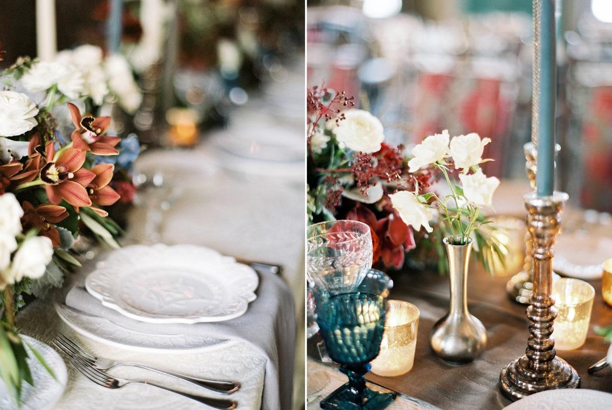 Romantic Rustic Winter Barn Wedding Place Setting // Photography ~ Rebecca Hollis Photography