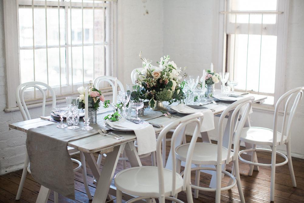 Elegant White, Grey & Peach Wedding Tablescape