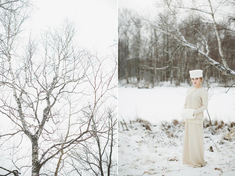 Russian Vintage Winter Bridal Look