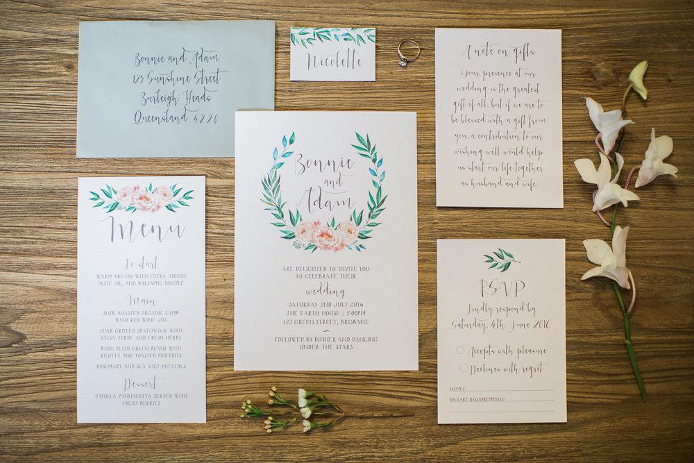 Floral Peach & Jade Wedding Stationery