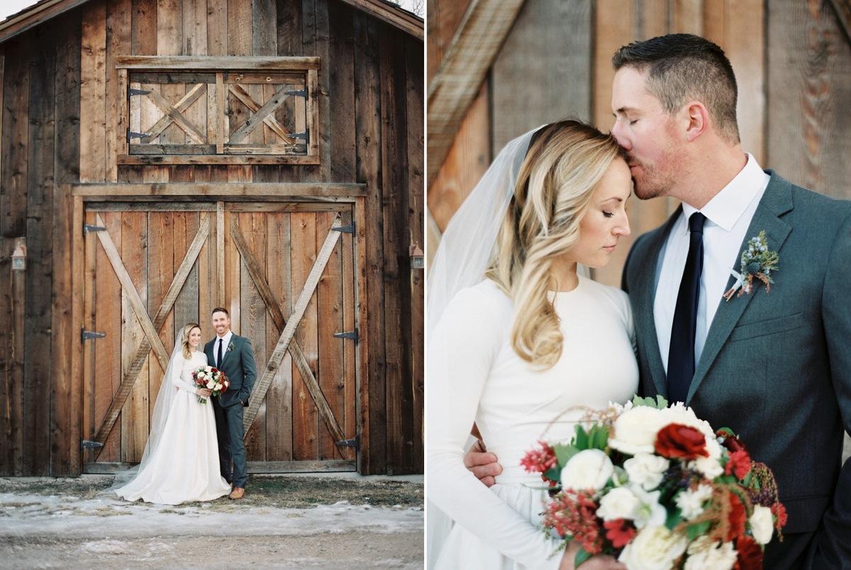 Romantic Rustic Winter Bride & Groom // Photography ~ Rebecca Hollis Photography