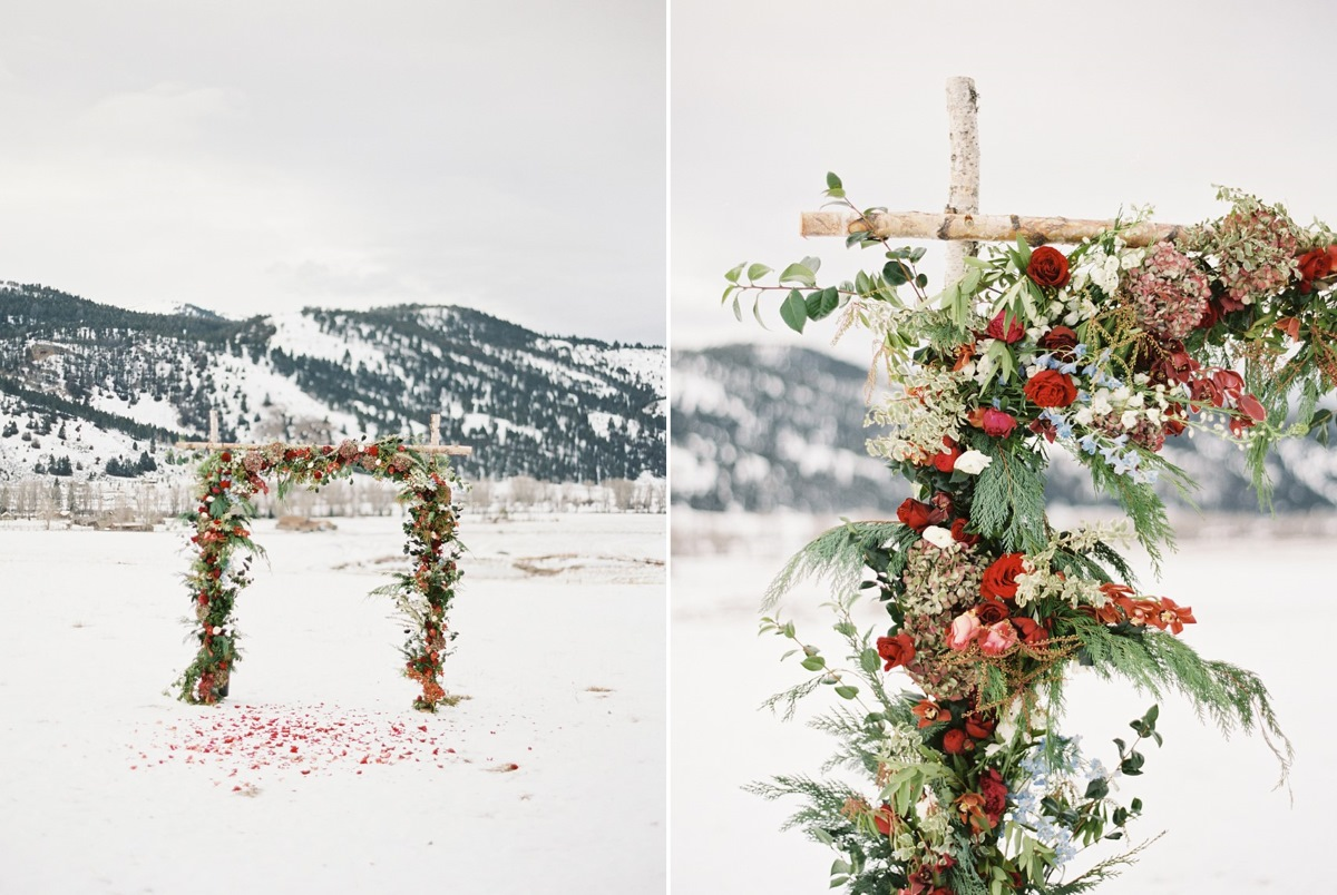 Snowy Holiday Wedding Aisle Arch