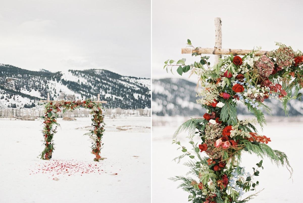 Snowy Holiday Wedding Aisle Arch