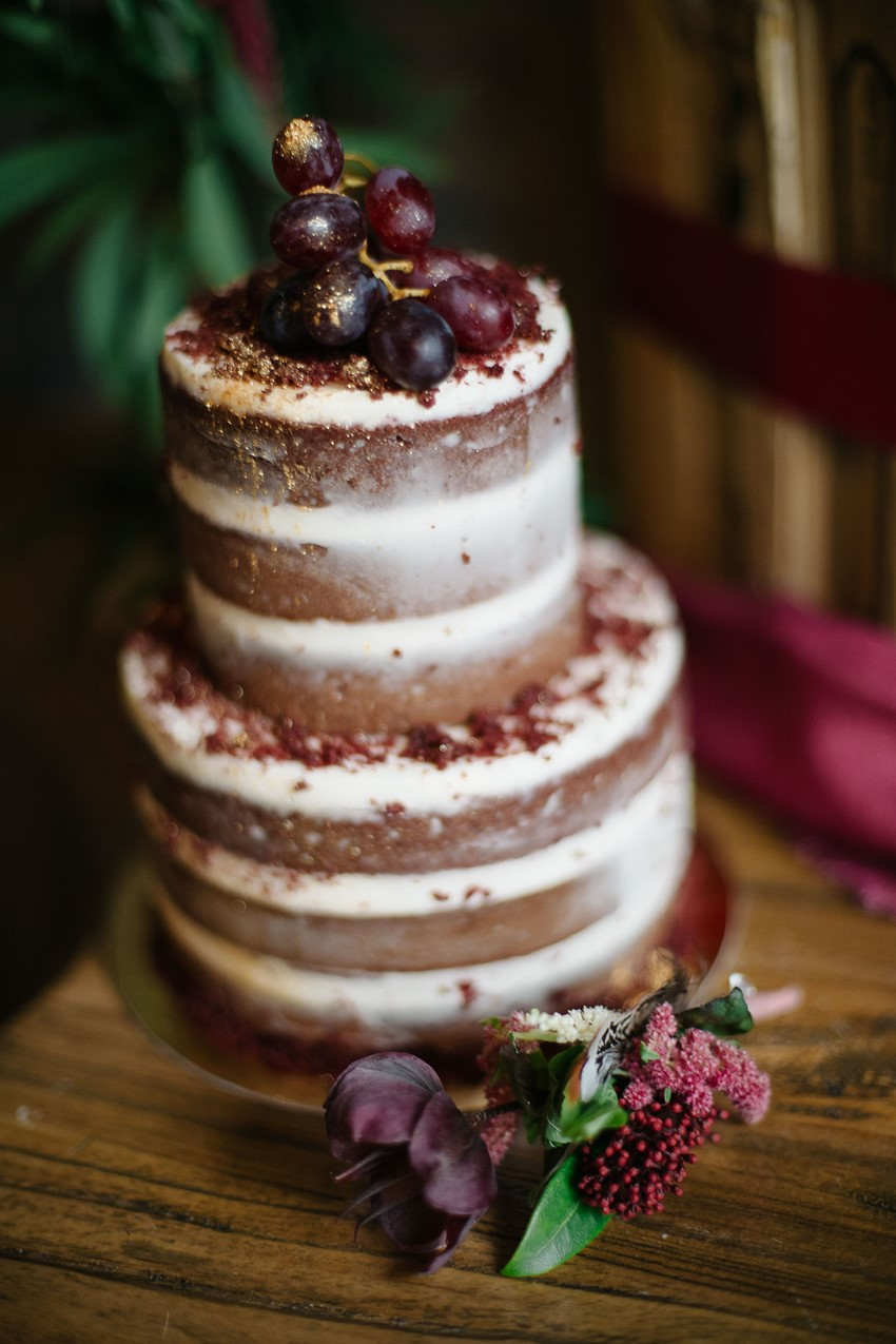 Semi Naked Fruit Adorned Wedding Cake